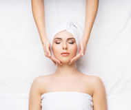 Young and healthy woman on a spa procedure. Healthy Beautiful Woman Spa. Recreation Energy Health Massage Healing Concept stock photos