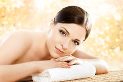 Young and healthy woman in a spa salon Stock Image