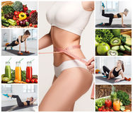 Young healthy woman with vegetables. Collage Royalty Free Stock Photography