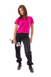 Young healthy women with weights stock images