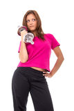 Young healthy women with weights Royalty Free Stock Image