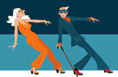 Young at heart. Mature couple dressed in 1970th fashion dancing a novelty dance, EPS 8 vector illustration Stock Images