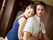Young heterosexual couple in bedroom Stock Photo