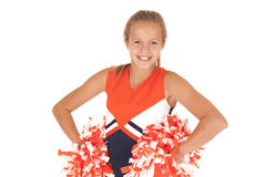 Young high school cheerleader with pom poms from waist up Stock Photos