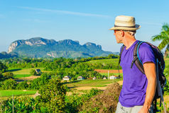 Young hiker admires landscape in Vinales, Cuba Stock Photography