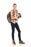Young hiker binoculars. Cheerful young hiker with binoculars isolated on white background Royalty Free Stock Photo