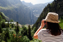 Young hiker and cirque de Gavarnie in the French pyrenees Royalty Free Stock Image