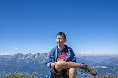 Young hiker on the Kitzbuhel mountains, Tirol Royalty Free Stock Images