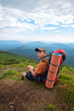 Young hiker with manly face Royalty Free Stock Images