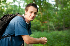 Young hiker taking a break Royalty Free Stock Photography