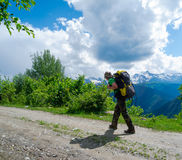 Young hiker trekking in Svaneti Royalty Free Stock Photos