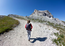 Young hiker walking on a mountain trail. Stock Photography
