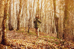 Young hiker woman walking in autumn forest Stock Photography