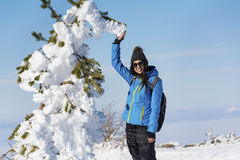 Young hiker woman in the winter mountain Stock Photography