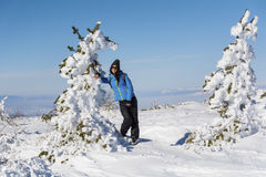 Young hiker woman in the winter mountain Royalty Free Stock Image