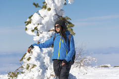 Young hiker woman in the winter mountain Stock Photos