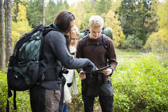 Young Hikers Checking Map In Forest Royalty Free Stock Images