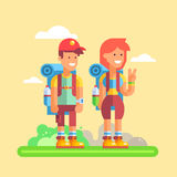 2 young hikers guy and girl with large backpacks Stock Image