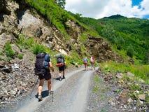 Young hikers trekking in Svaneti, Stock Photo