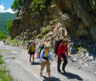 Young hikers trekking in Svaneti,. Georgia Stock Photography