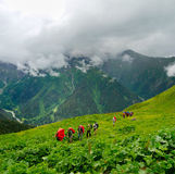 Young hikers trekking in Svaneti Royalty Free Stock Image