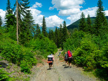 Young hikers trekking in Svaneti Royalty Free Stock Images