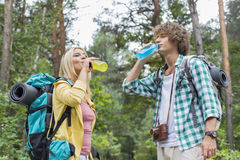 Young hiking couple drinking energy drinks in forest Royalty Free Stock Photography