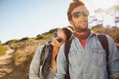 Young hiking couple enjoying nature Royalty Free Stock Photo