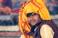 A young Hindu priest at the Kumbha Mela in India. Royalty Free Stock Photography