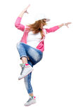 Young Hip Hop Dancer Dancing Isolated On White Background. Royalty Free Stock Images