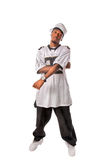 Young hip-hop dancer standing on white Stock Images