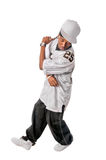 Young hip-hop dancer on white royalty free stock photo