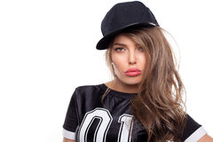 Young hip hop woman portrait isolated on white bg Stock Images
