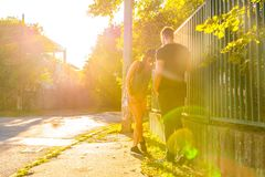 Young HipHop Couple in a urban environment Stock Photo
