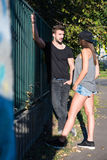 Young HipHop Couple in a urban environment Royalty Free Stock Image
