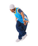 Young hiphop dancer on white. Young hiphop dancer  making a move on white Royalty Free Stock Photography