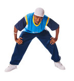 Young hiphop dancer on white Royalty Free Stock Photo