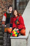 Young hippie couple in love. Young hippie couple on the steps Stock Photo
