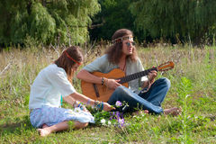Young hippie couple Stock Photo