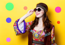 Young hippie girl with sunglasses Royalty Free Stock Photo