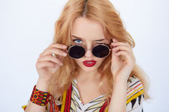 Young hippie woman in boho style clothes Stock Image