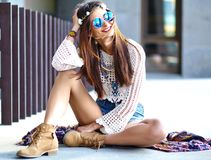 Young Hippie Woman Model In Summer Sunny Day In Bright Colorful Hipster Clothes Royalty Free Stock Photo