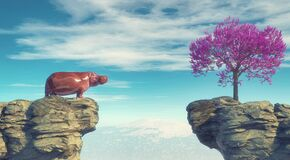 Free Young Hippopotamus On A Mountain Peak Looking At A Flower Tree On The Other Side Stock Photos - 177175923