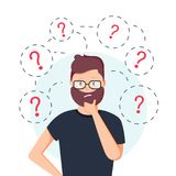 Young hipster business man thinking standing under question marks. Vector flat cartoon illustration character icon. Stock Photos