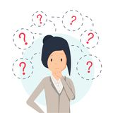 Young hipster business woman thinking standing under question marks. Vector flat cartoon illustration character icon. Royalty Free Stock Image
