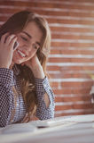 Young hipster businesswoman calling with her phone Stock Photos