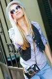 Young hipster in the city Royalty Free Stock Image