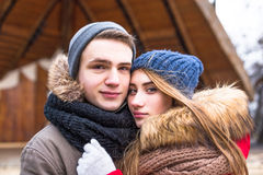 Young hipster couple enjoy in winter city park outdoor Royalty Free Stock Photography