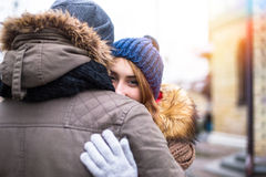 Young hipster couple enjoy in winter city park outdoor Stock Photos