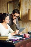 Hispter man and woman working at home Royalty Free Stock Photography